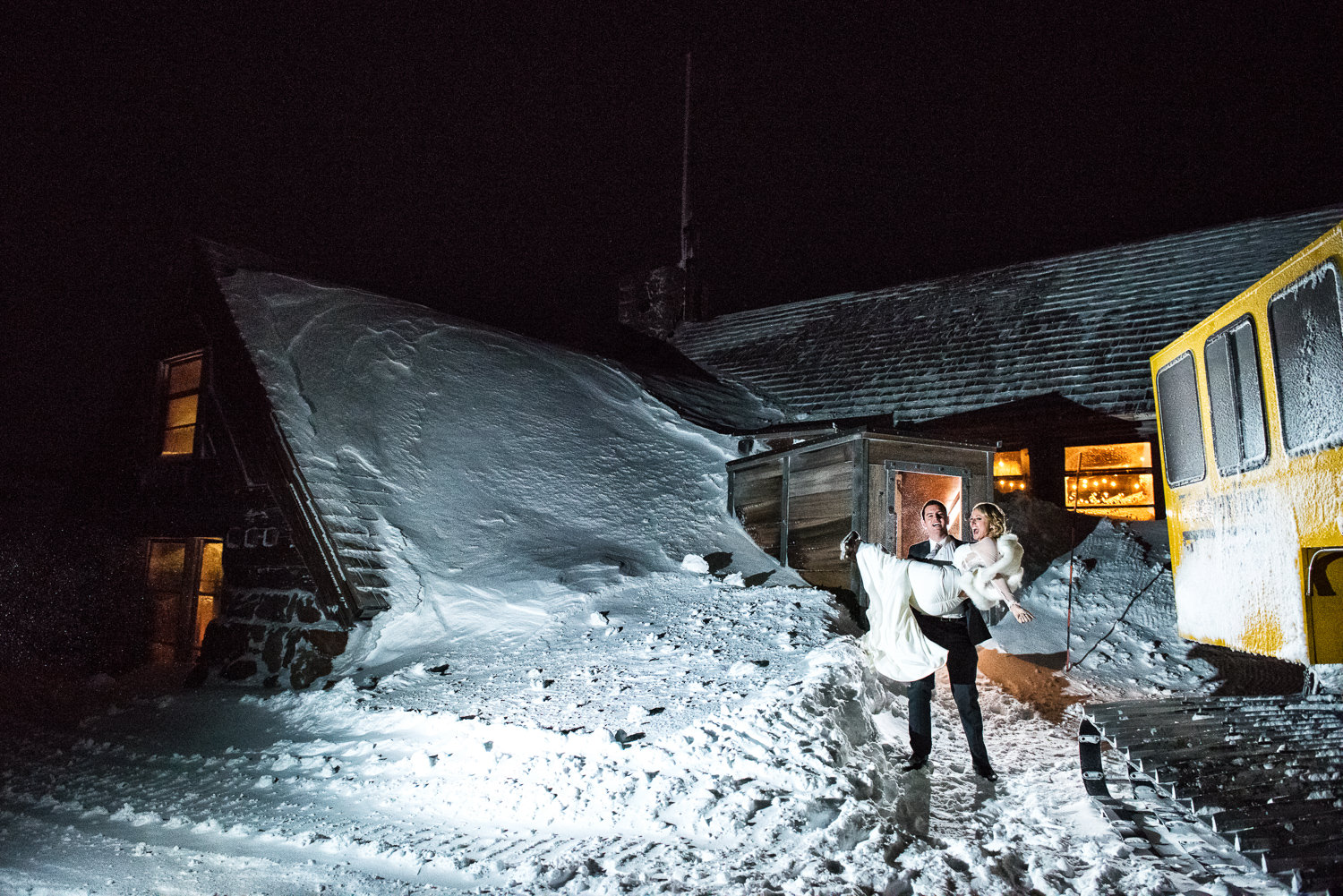 Nighttime at the Silcox Hut, Timberline, Mt. Hood, OR