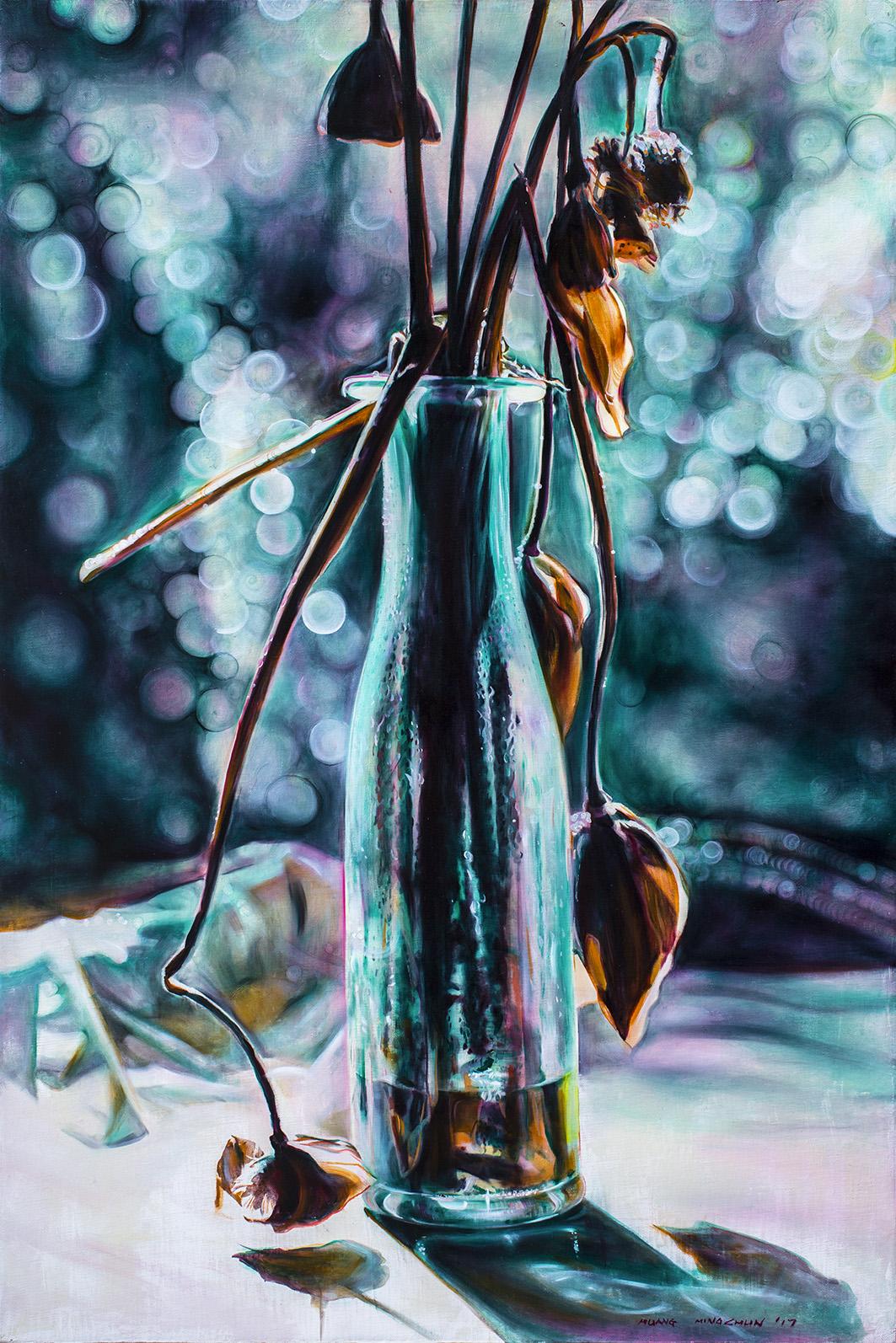 瓶中詩 Poetry in the Vase  91cm x 60.5cm  油彩畫布Oil on canvas 2017