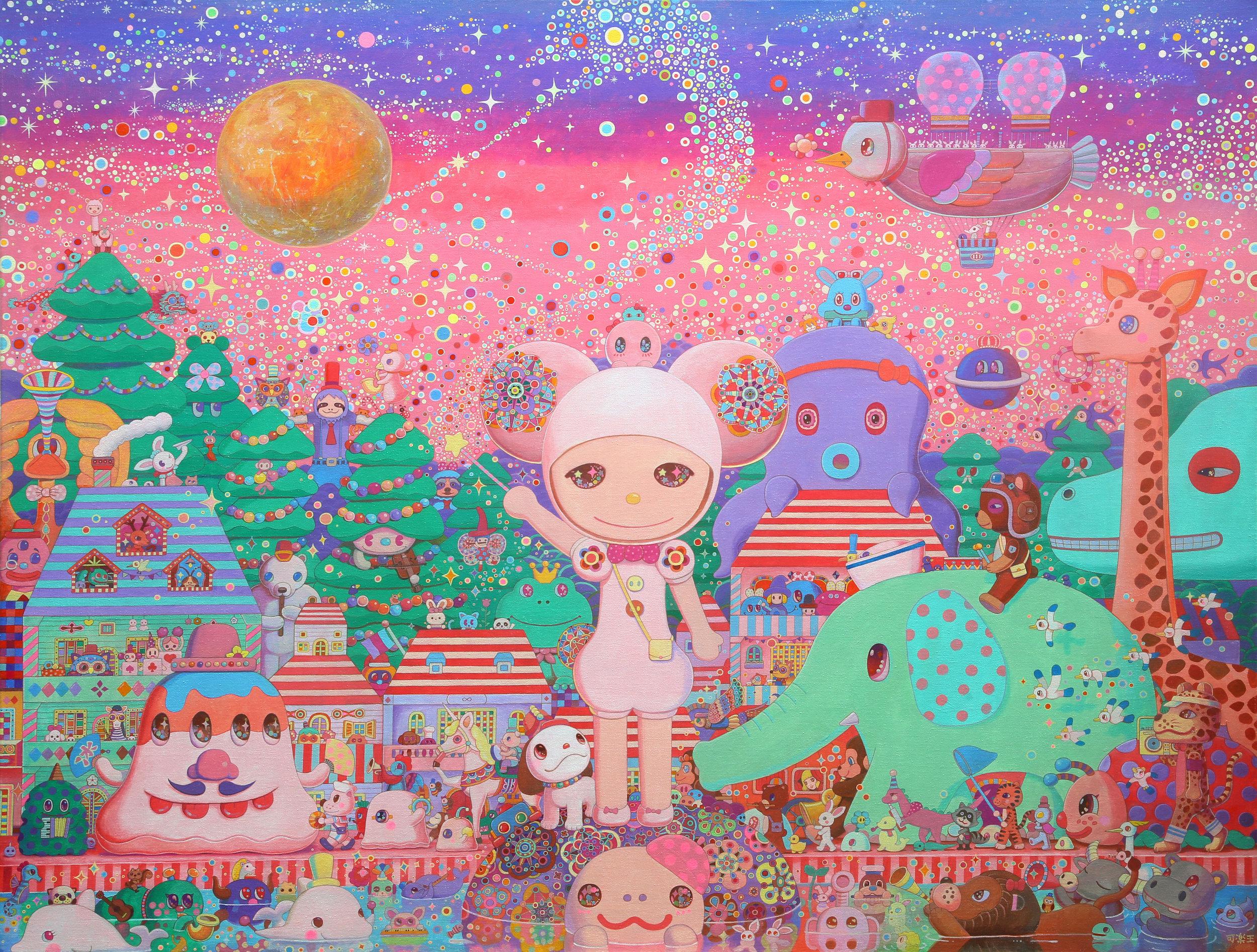 幻日之夜 145.5×112.0cm Acrylic on canvas 2014-2019