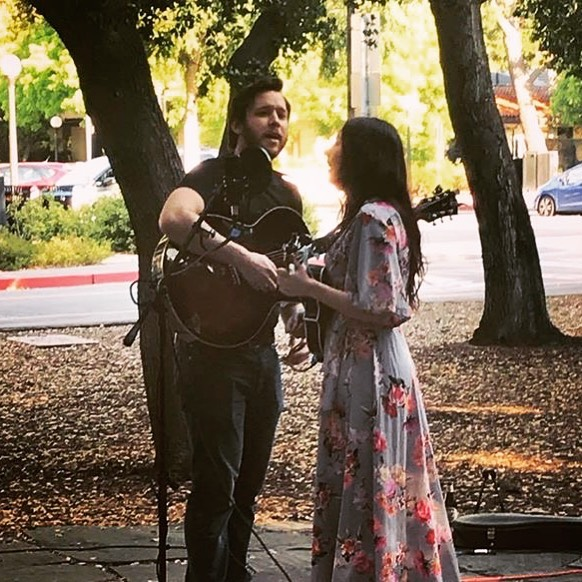 We had a wonderful time at our first show of the summer at a secret Stanford show!  #folkmusic #floral #floraldress #acousticmusic #americana #americanamusic #folkmusic