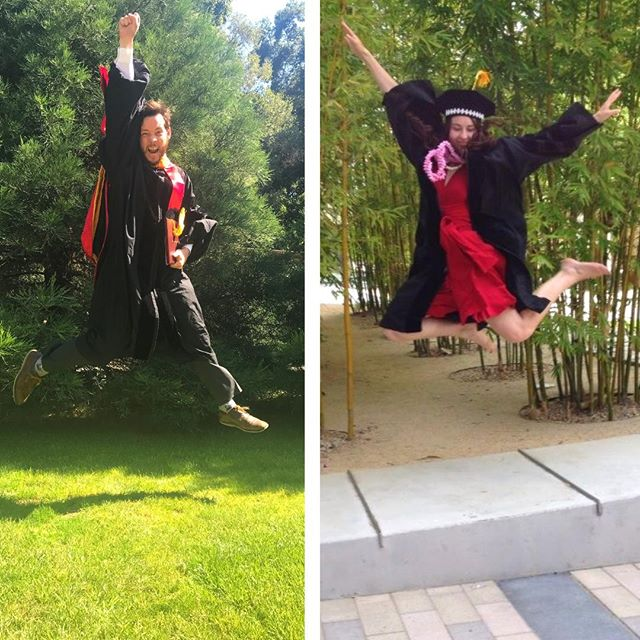 #throwbackthursday to June 2014, when Trisha completed her Ph.D. (immunology at Stanford!) and to June 2019, when Greg celebrated his Ph.D. commencement (Physics at Stanford). They were pretty excited to be done with grad school!  #graduates #phd #celebrate