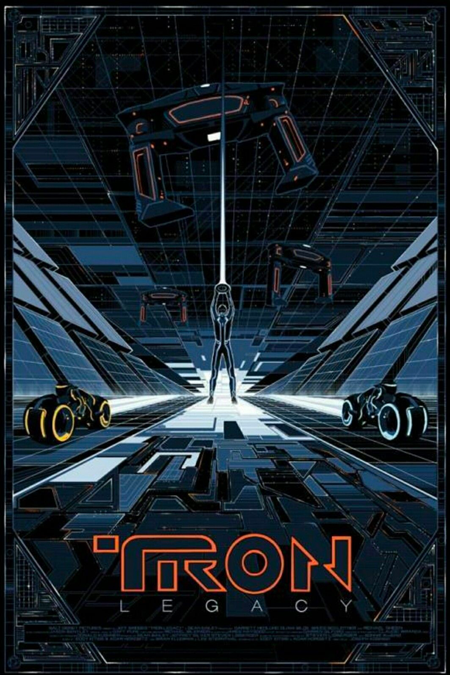 This Tron: Legacy poster marked my real foray into silkscreen poster collection. This was illustrated by the brilliant master Kilian Eng for a private commission. It was produced by Seizure Palace in a run of 150. Sometimes you'll find a print or two on eBay - like I did. No picture can do the 3 metallic inks justice. I purchased this in 2017.