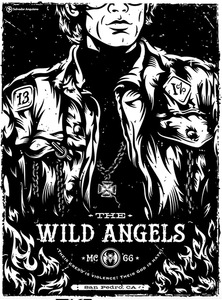 This was a print given to me in 2017. It is a gorgeous 1 color print illustrated by Salvador Anguiano and printed by Lady Lazarus for Hero Complex Gallery. It's for the 1966 Peter Fonda movie The Wild Angels. I'm not a fan of the movie but this print is just straight gorgeous. Run of 50.