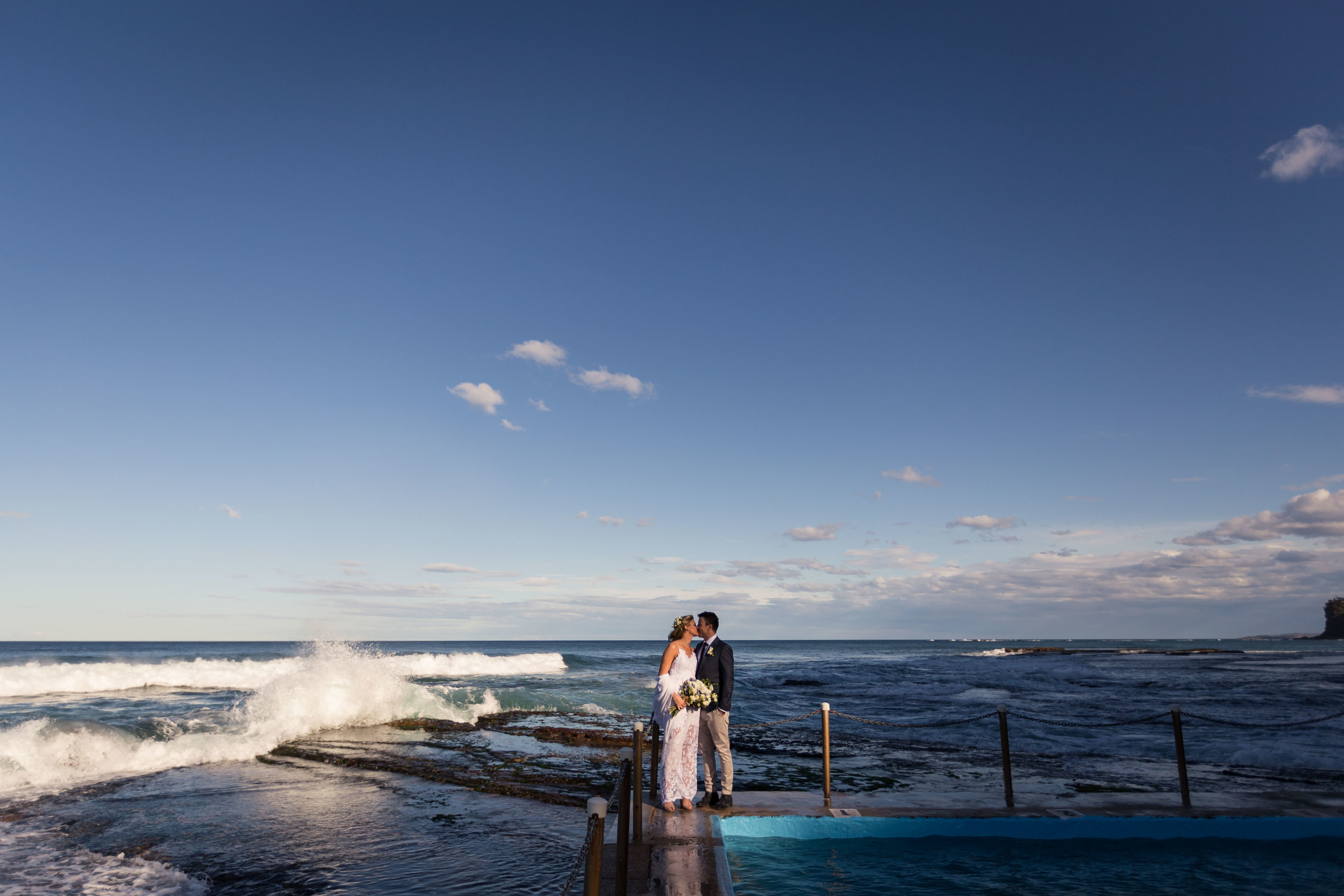 Bilgola Beach Wedding. Bride and Groom Photo On A Pool.