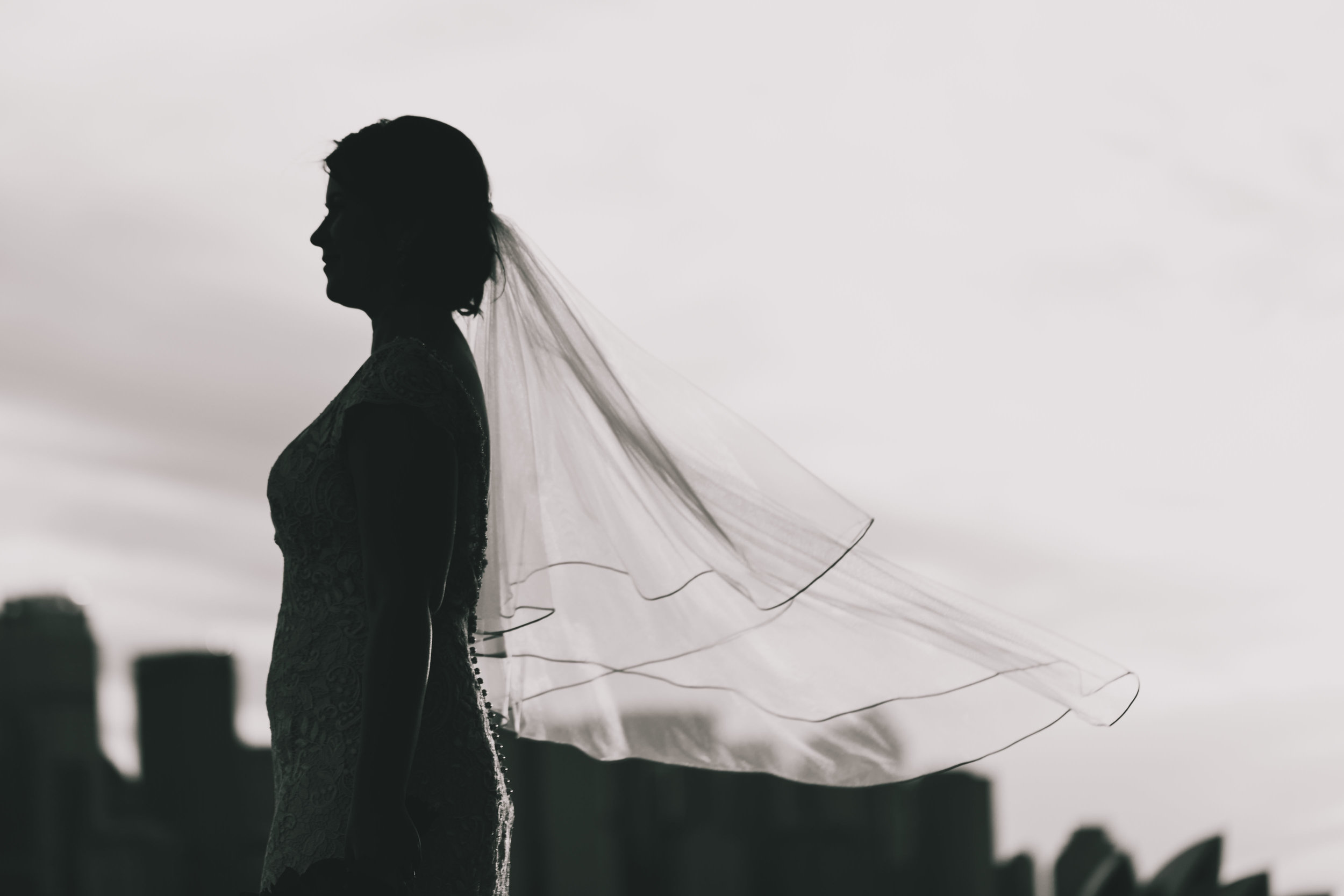Bride with veil blowing in the wind. Black and white photo. Sydney harbour wedding.