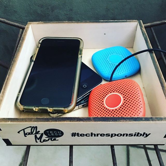 """Have a home for your devices. 🤯⠀ ⠀ The science behind having a place where your devices live is growing. And by place, we don't mean our back pocket where mine can reside often. We mean a place to set it down and walk away. ⠀ ⠀ This detaches your brain from all the activity happening on the phone. """"Out of sight. Out of mind"""". This way when you're in the middle of your life activities and it buzzes your mind can continue your activity undisturbed, instead of unaware anxiety levels rising in you from the constant or sporadic pings in your back pocket. We know there are plenty of times we need to have our phones with us for kids, work, our camera...but when you can, take the time to set it down and move on. ⠀ ⠀ Here's three simple steps to have a healthier mind when technology is such a big part of our lives. ⠀ ⠀ ✔️ Turn off as many notifications as you can (this is PROVEN to reduce anxiety and increase connection, focus and productivity)⠀ ⠀ ✔️Have a home for your phone (our Detox Box is available at the #linkinbio talkmoretechless.com We've used ours for 5 years now and it's still in the middle of our living room. ⠀ ⠀ ✔️Unplug regularly- maybe it's weekends, maybe it's a week getaway each year, maybe it's a morning walk everyday...but let's make this a habit and get our kids involved in it. Clear the mind. ⠀ ⠀ More on the @relay_go you see pictured here, plus xbox struggles and pre-teens first phone on our instastory this week. ⠀ Hint: our boys are loving their Relays!⠀ ⠀ #techresponsibly #talkmore #digitaldistractions #unplug #phonedown #mealtimes #digitalwellness #lookup #digitalmindfulness #optoutside #connect #eatandconnect #talkmoretechless #parenting #kids #detoxbox #unplugged"""