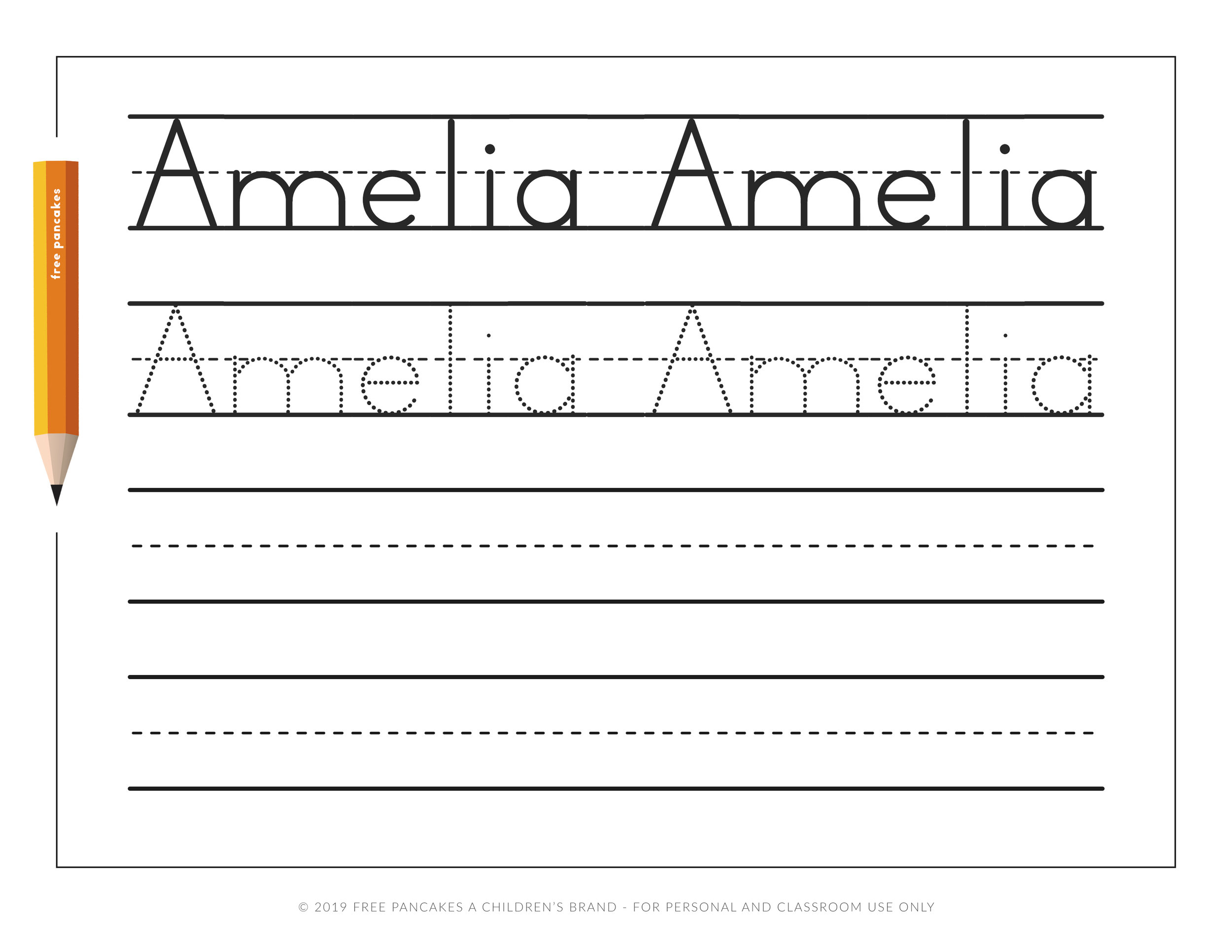 - Personalized Name Tracing Worksheets — Free Pancakes A Children's