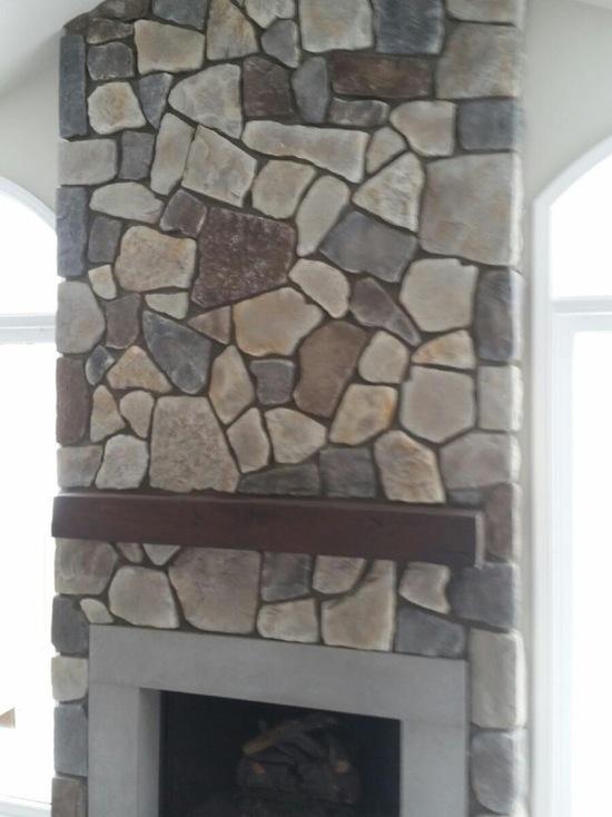flat natural stone fireplace