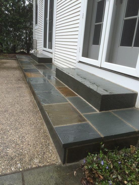 House sliding door with bluestone steps