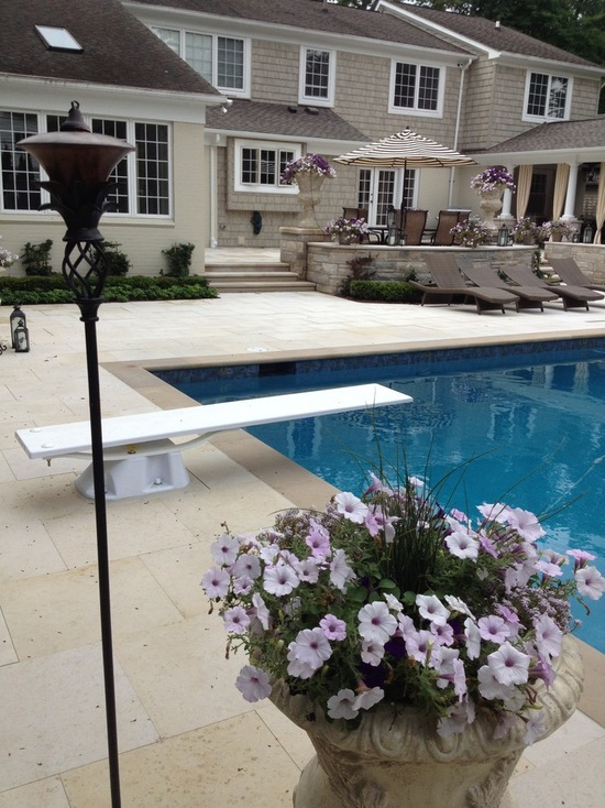 Diving board and natural stone pool deck with plotted plants and torches