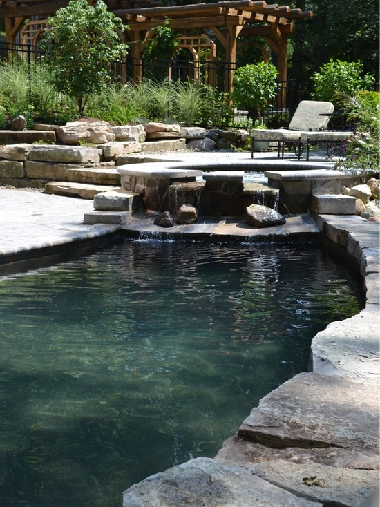Natural stone pool area