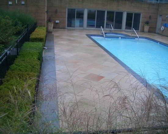 Backyard pool with sliding doors and full length swim on natural stone deck