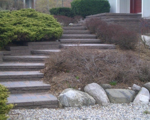 brick steps on a hardscape