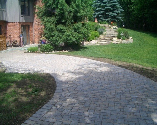 Brick paver leading up to house