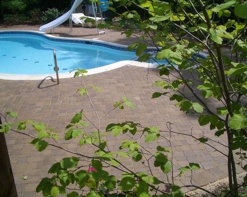 Brick pool patio in the backyard