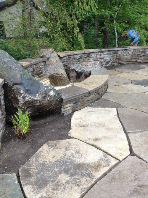 Firepit on natural stone patio