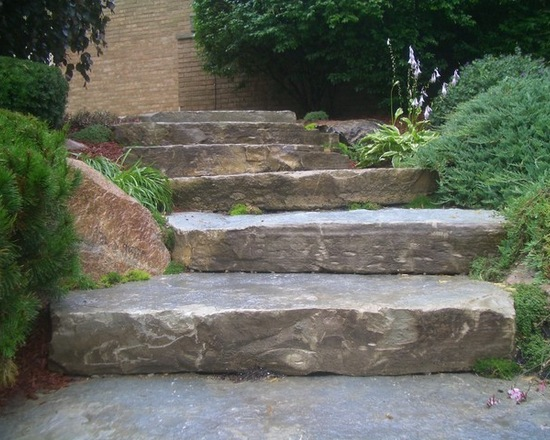 dark stone steps in backyard