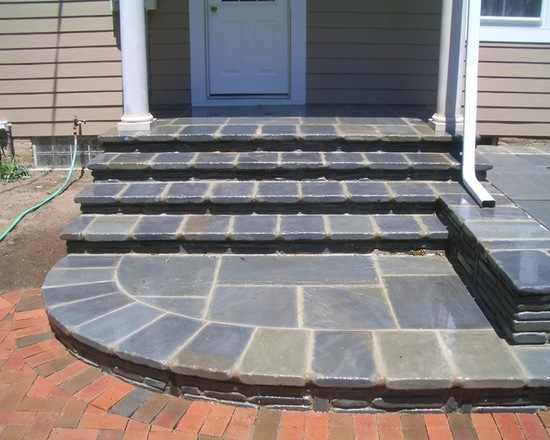 bluestone steps on brick patio