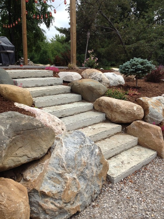 stone steps between two stone walls