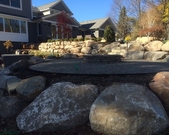 front yard hardscaping natural stone