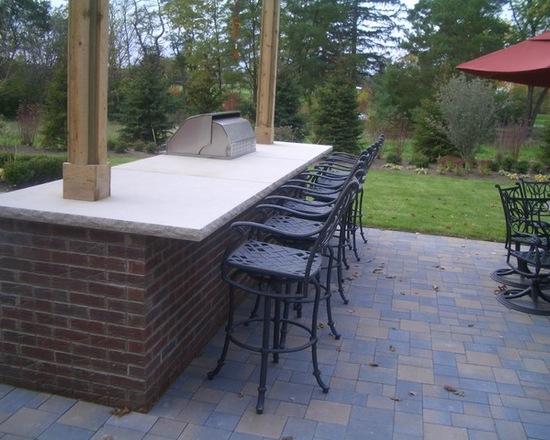 outdoor brick bar with stools