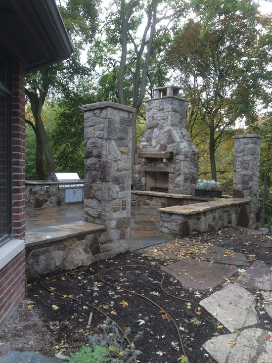 natural stone backyard setup