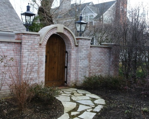 Brick Wall Natural Stone Path and Custom Wood Gate Door
