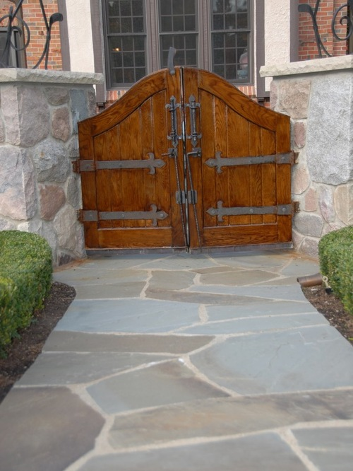 Blue Stone Walkway, Natural Stone Wall, and Natural Wood Door Gate