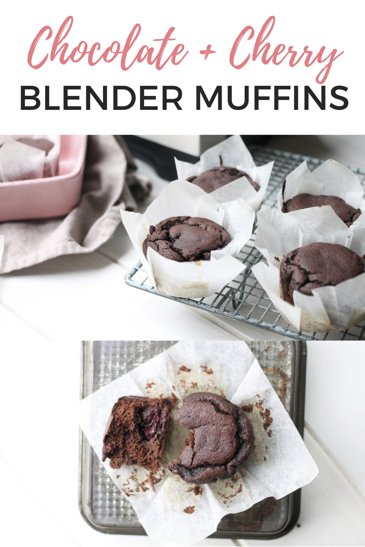 Dark Chocolate Cherry Blender Muffins