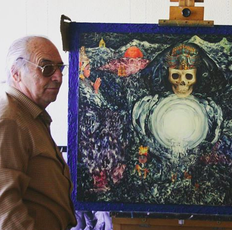 Juan Antonio Guirado stands by his masterpiece 'Kali's Tunnel' acrylic and collage on board, 1989.