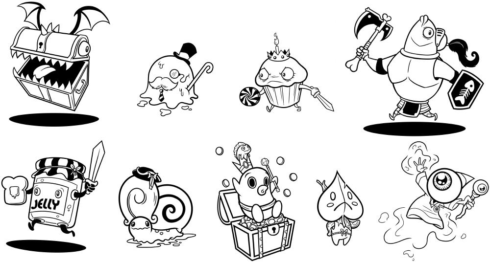 Humorous fantasy character designs.
