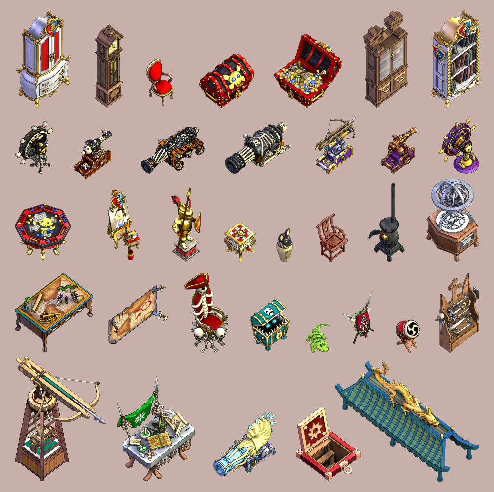 Furniture, props, and pets from  Puzzle Pirates  MMO. © SEGA