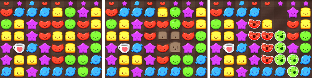 Puzzle board from  Cranky Food Friends.  All art created by my art team and myself.   © SEGA  We had a fun puzzle mechanic, but one players hadn't seen before. Players assumed it was a standard match three game and of course nobody wanted to read through a tutorial so I needed to figure out a visual way to show that this was different than what players had experienced in the past.  Players swipe to remove pieces from the board, but the pieces they remove are arbitrary. Points are determined entirely by the combos that are made when the pieces above those you remove collide with the pieces under them, so I shrank and desaturated the pieces as players touched them to make it clear that those pieces and what color they were no longer mattered.   The key bit was to have all the pieces above the pieces you are removing look down excitedly and move with anticipation of joining the pieces below. The effect is extremely subtle in a screenshot, but when animated effectively drew the players attention to the key information. The moving pieces were going to fall and collide with the pieces they were looking down at to make combos. This solved our gameplay confusion problem.