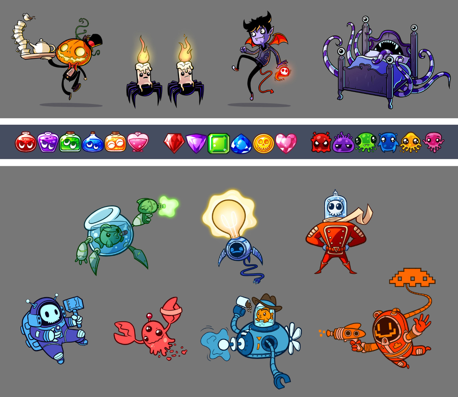 Gothic character designs / Puzzle pieces / Humorous sci-fi characer designs