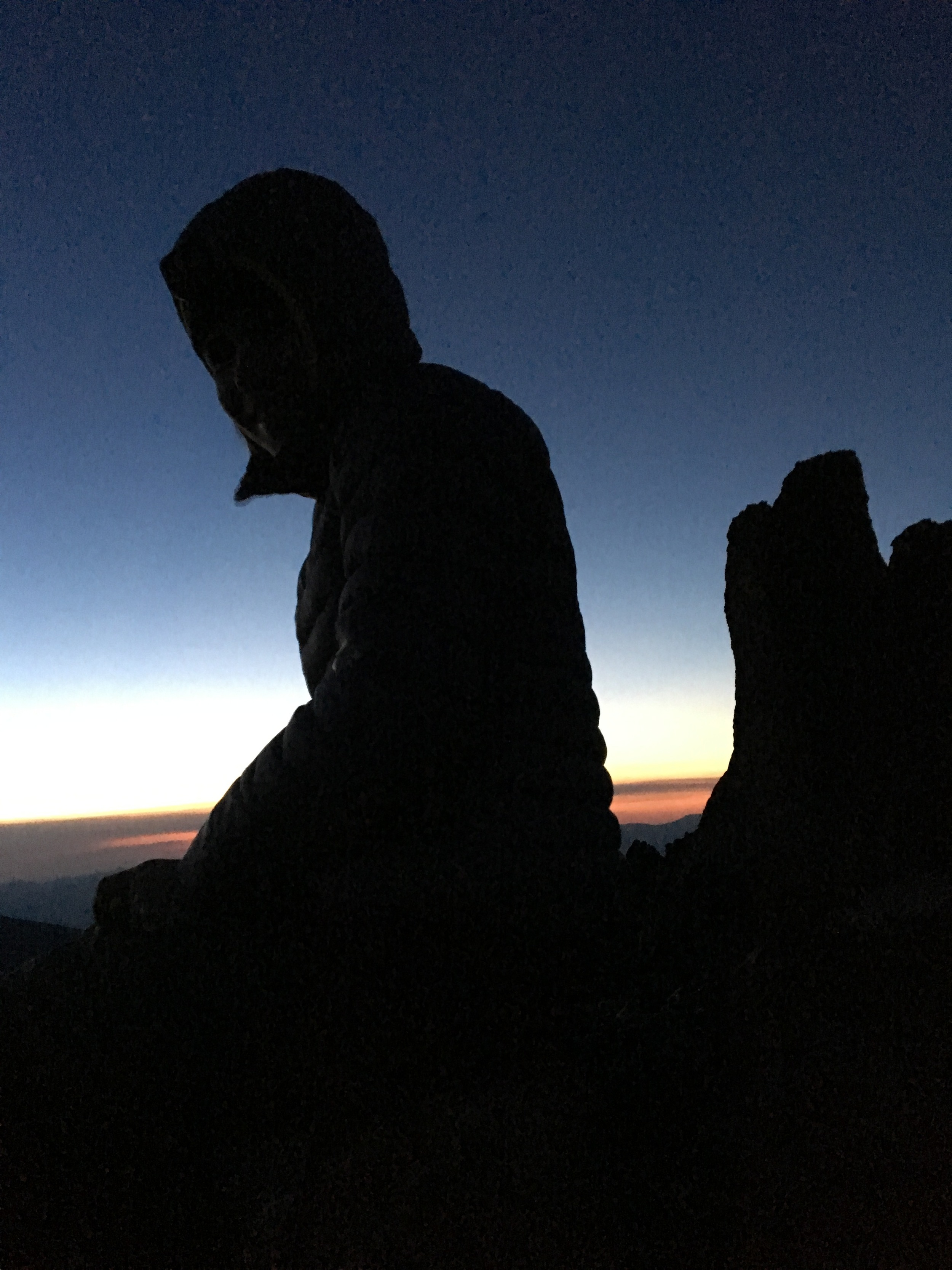 Sitting atop the rock spire we had climbed up to watch the sunrise