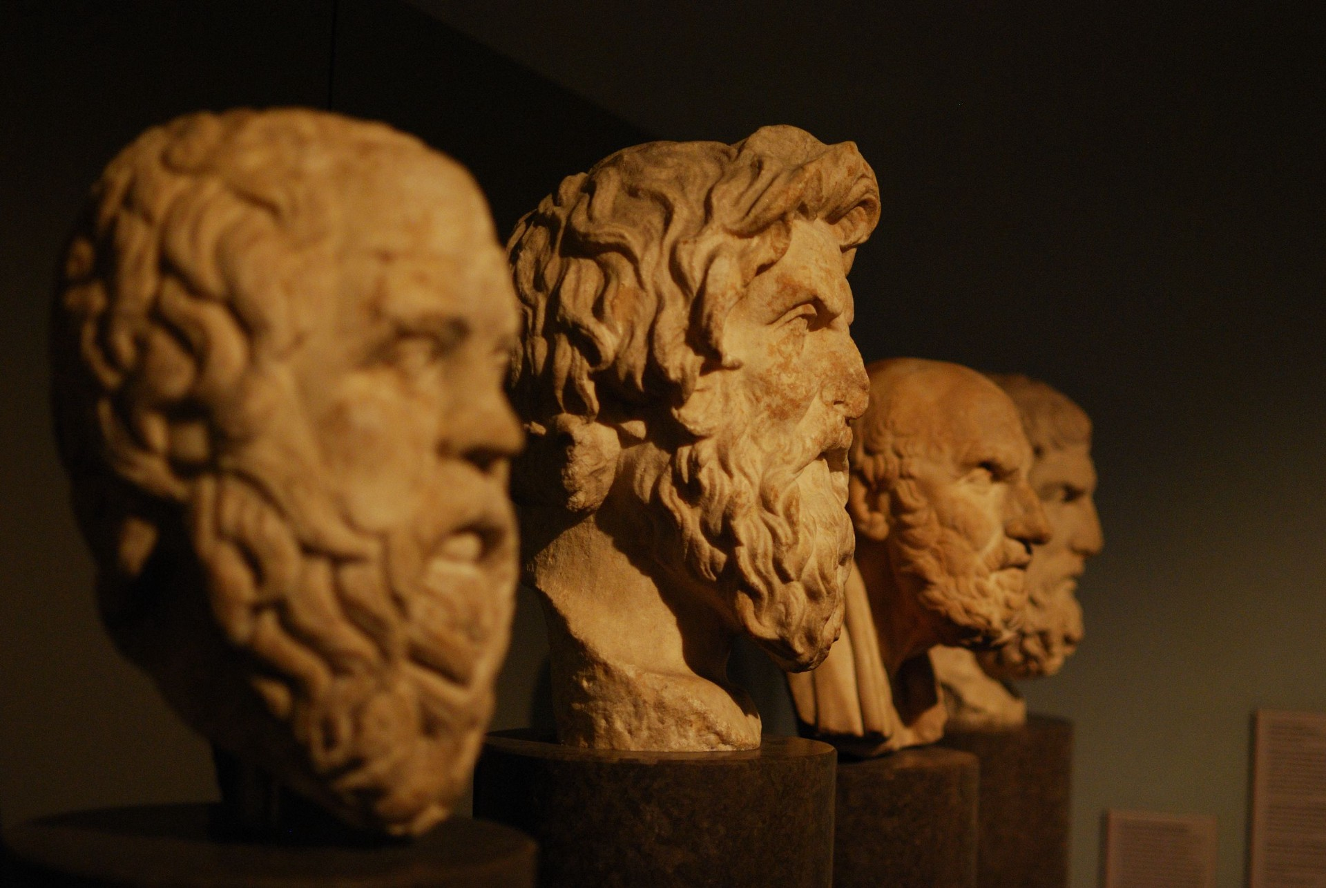The carved busts of Socrates, Antisthenes, Chrysippus, and Epicurus (image  credit )