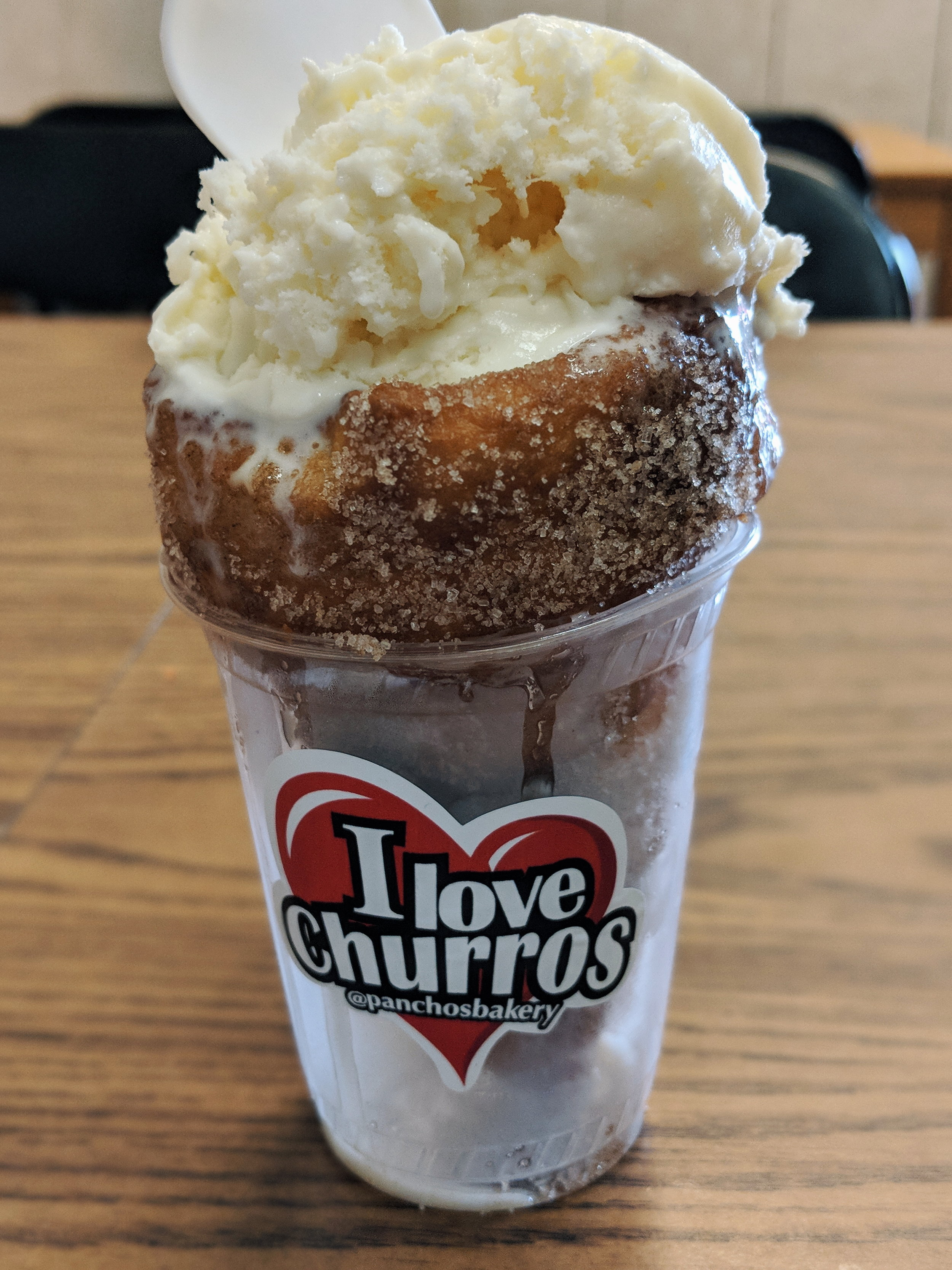 Really good if you're a churro lover, but ice cream melts fast because the churro is hot!