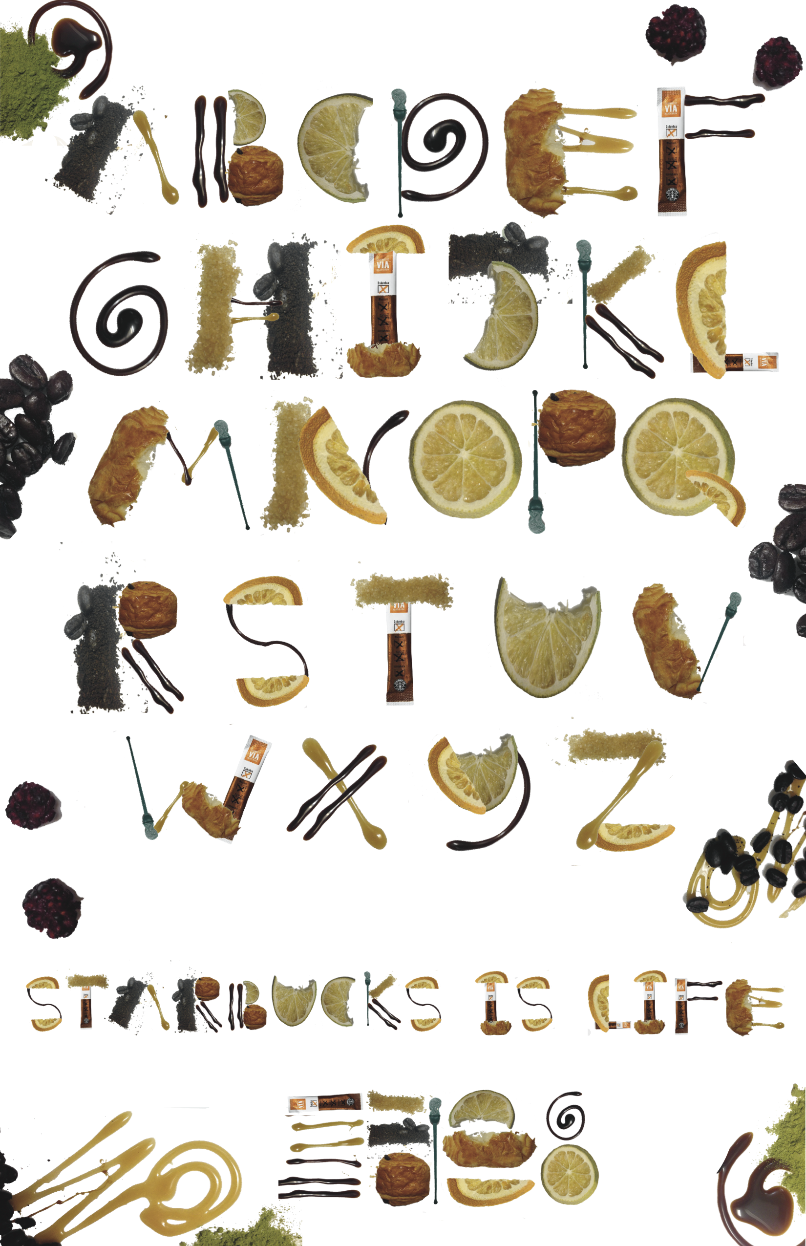 Starbucks Modular Typography Project  // Cornish College of the Arts Typography project to design a typeface made up of repeated elements to make a modular typeface. Made up of photographed ingredients, elements and items found at a Starbucks cafe, that were then photoshopped and designed to make the finished typeface.