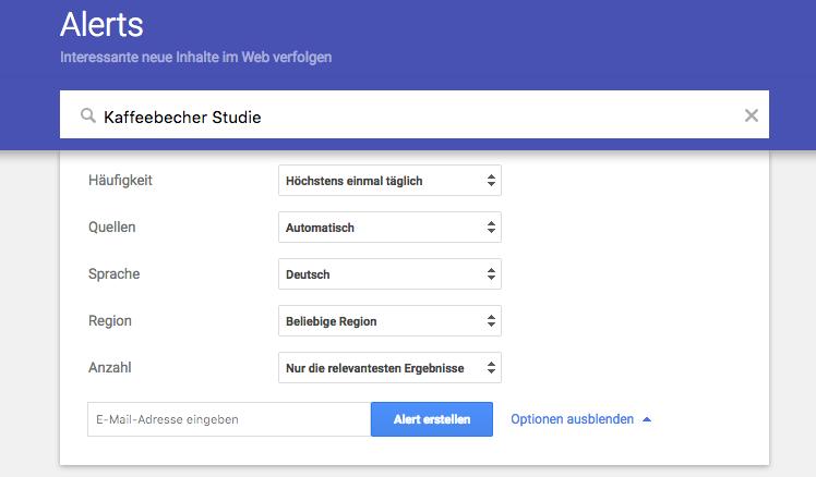 Die Optionen in Google-Alerts einstellen