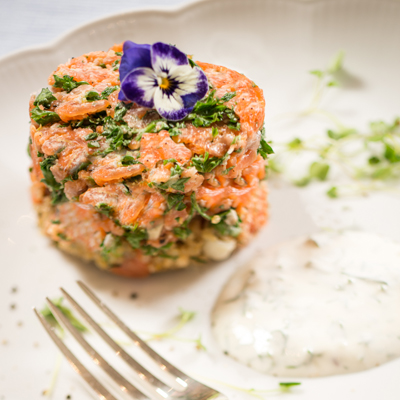 <h2>Quinoa Cake with Smoked Trout Stack<h2>