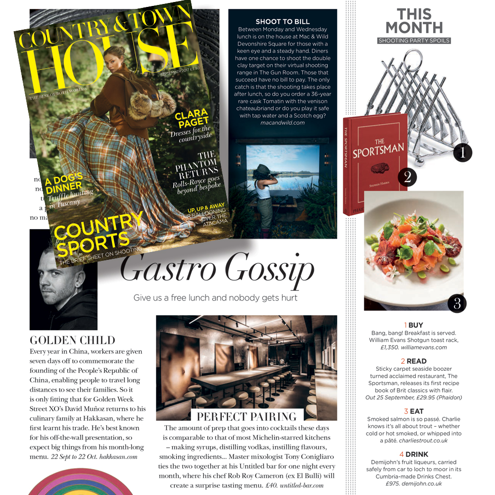 Charlie's Trout in Country & Town House Magazine