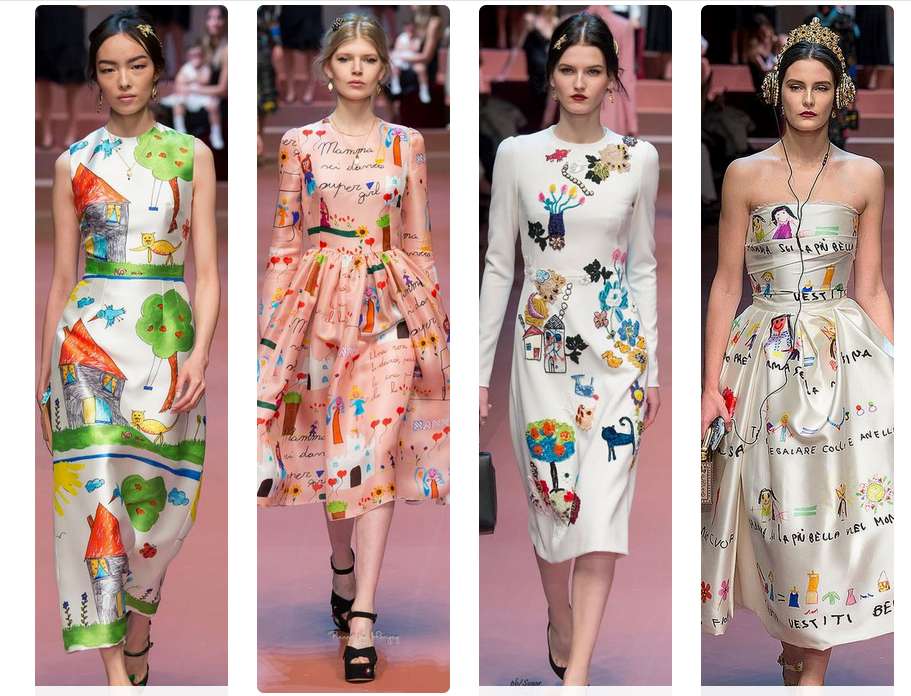 These 'sketch pen' creations were drawn by the little nieces and nephews of the designers Domenico Dolce and Stefano Gabbana, and then printed on to fabric.