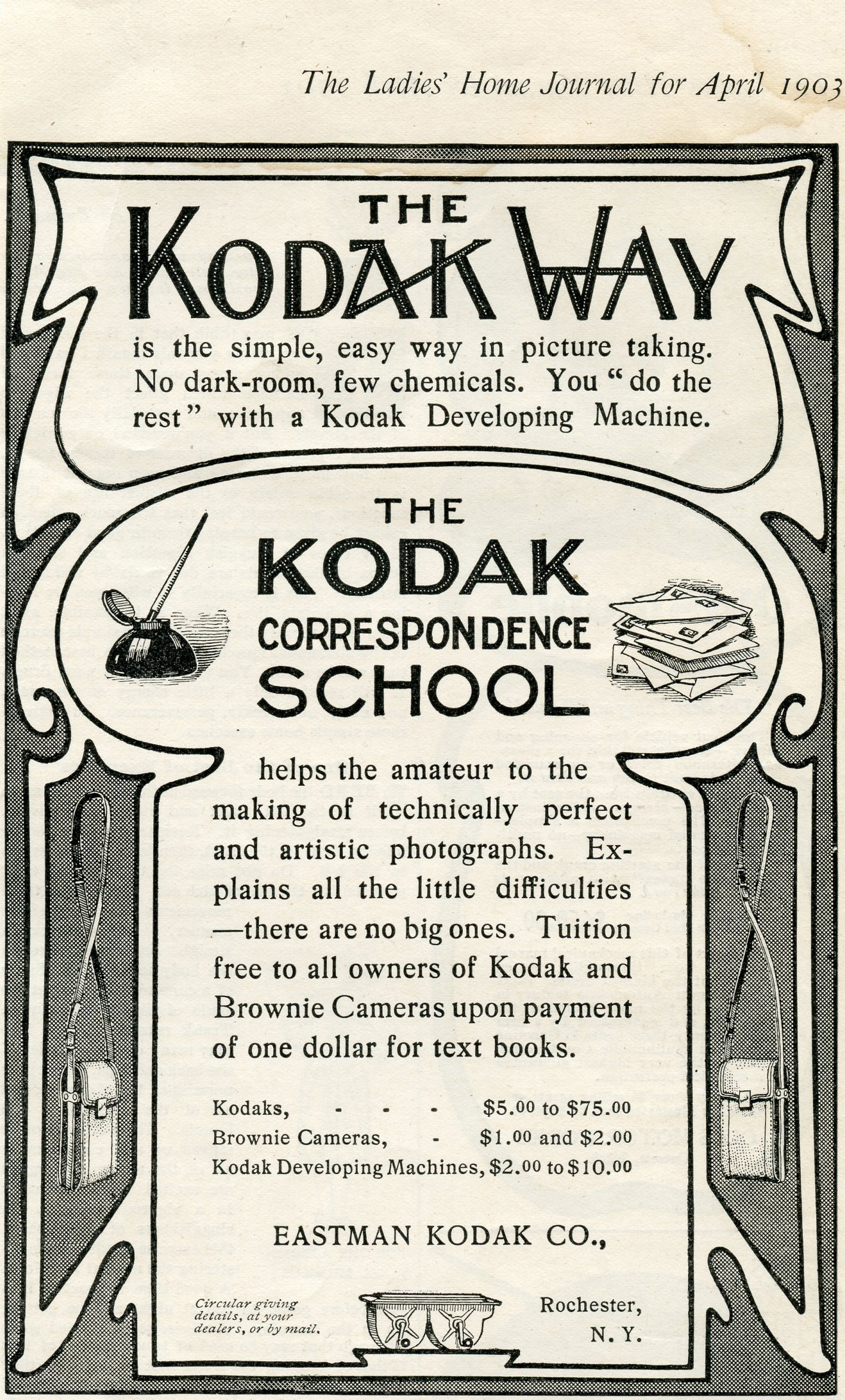"""""""The Kodak Way"""" from The Ladies' Home Journal, April 1903. 6"""" x 4"""" Found in DuBois, PA"""