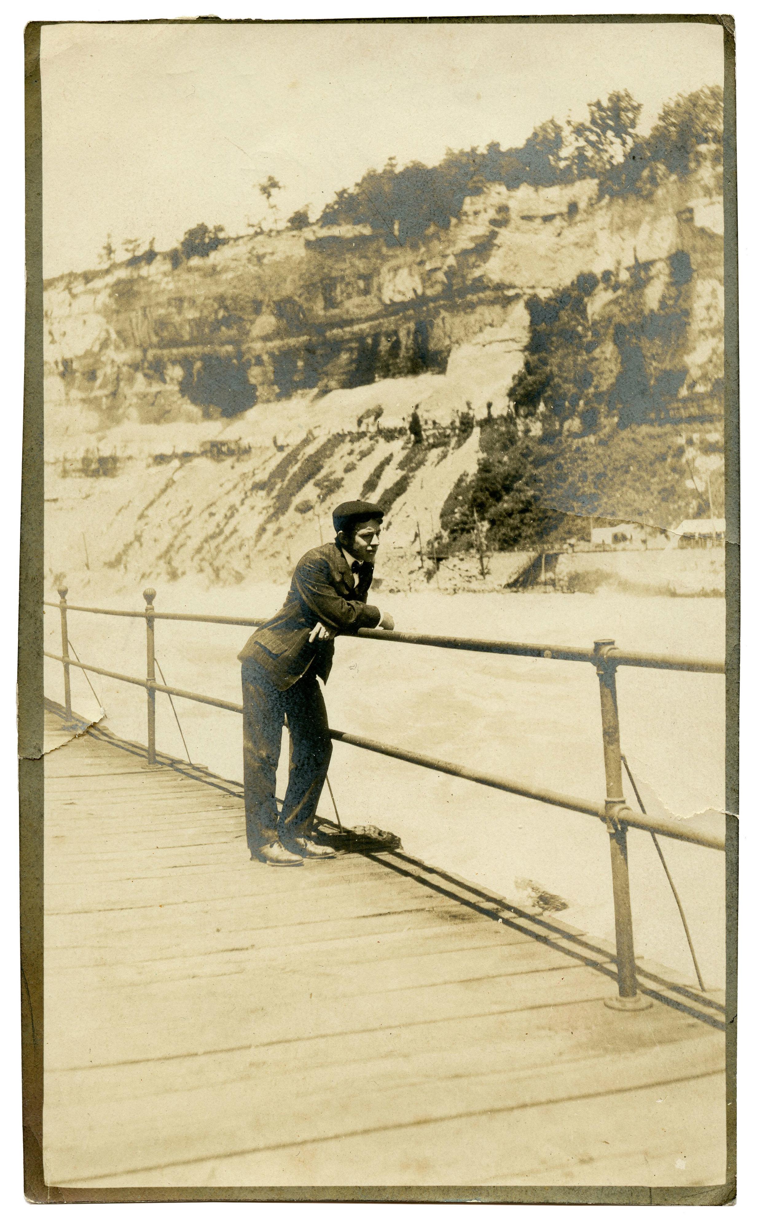 """Edgar - Taken at the falls - 1912"" B&W print, 1912, 5.75"" x 3.5"" Found in Philadelphia, PA"