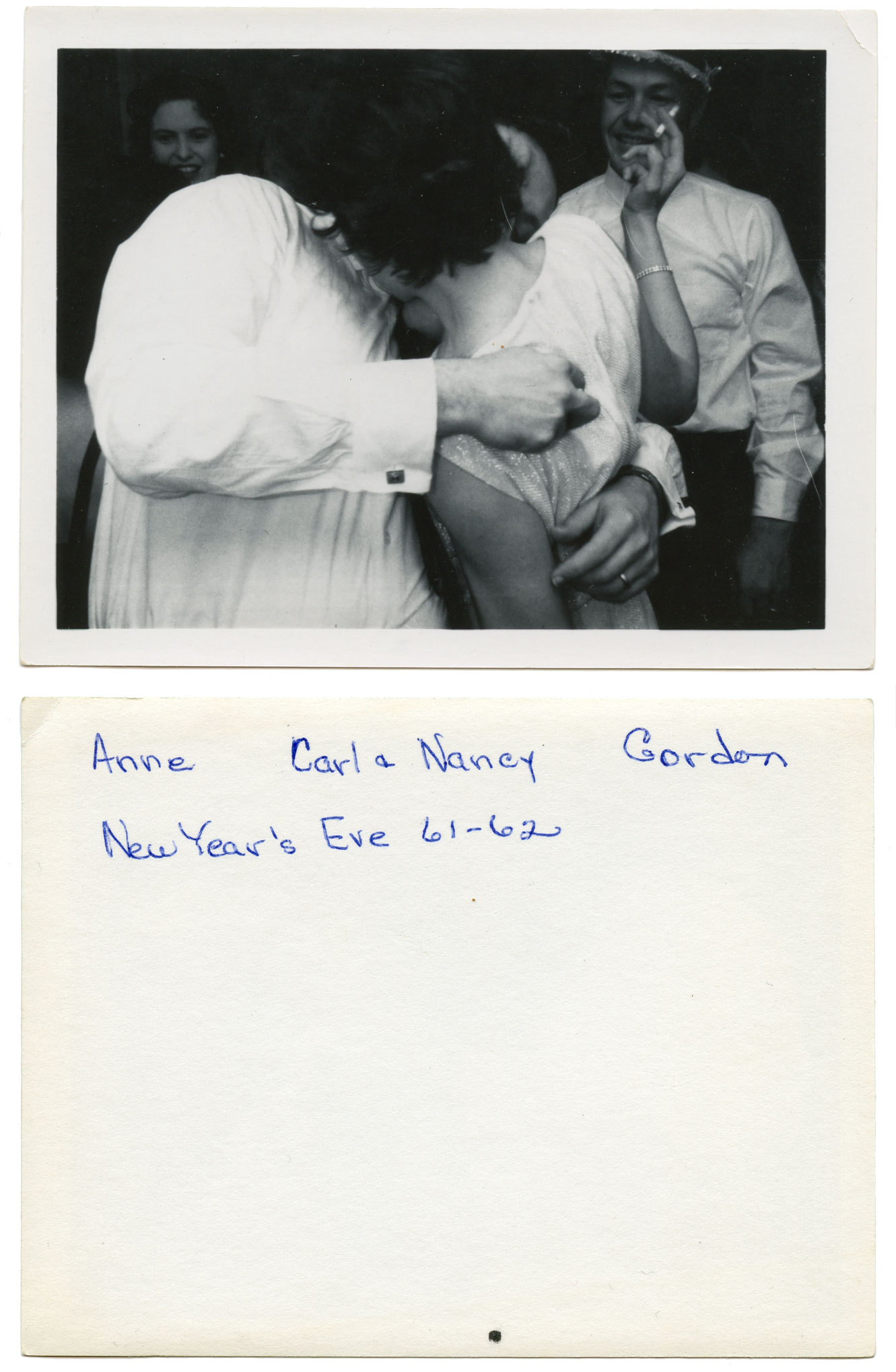 """""""Anne, Carl & Nancy, Gordon. New Year's Eve 61-62"""" B&W silver print, 3.25"""" x 4.25"""" Found in Raleigh, NC   I mistook this for a Polaroid at first but there are several things that indicate it isn't. Paper fibers are visible on the front and back, and the image area is just off center. Additionally, there is not a Polaroid manufacturing code. However, according to this  document  they were not implemented until 1968. A reliable way to interpreate these codes has not been published."""