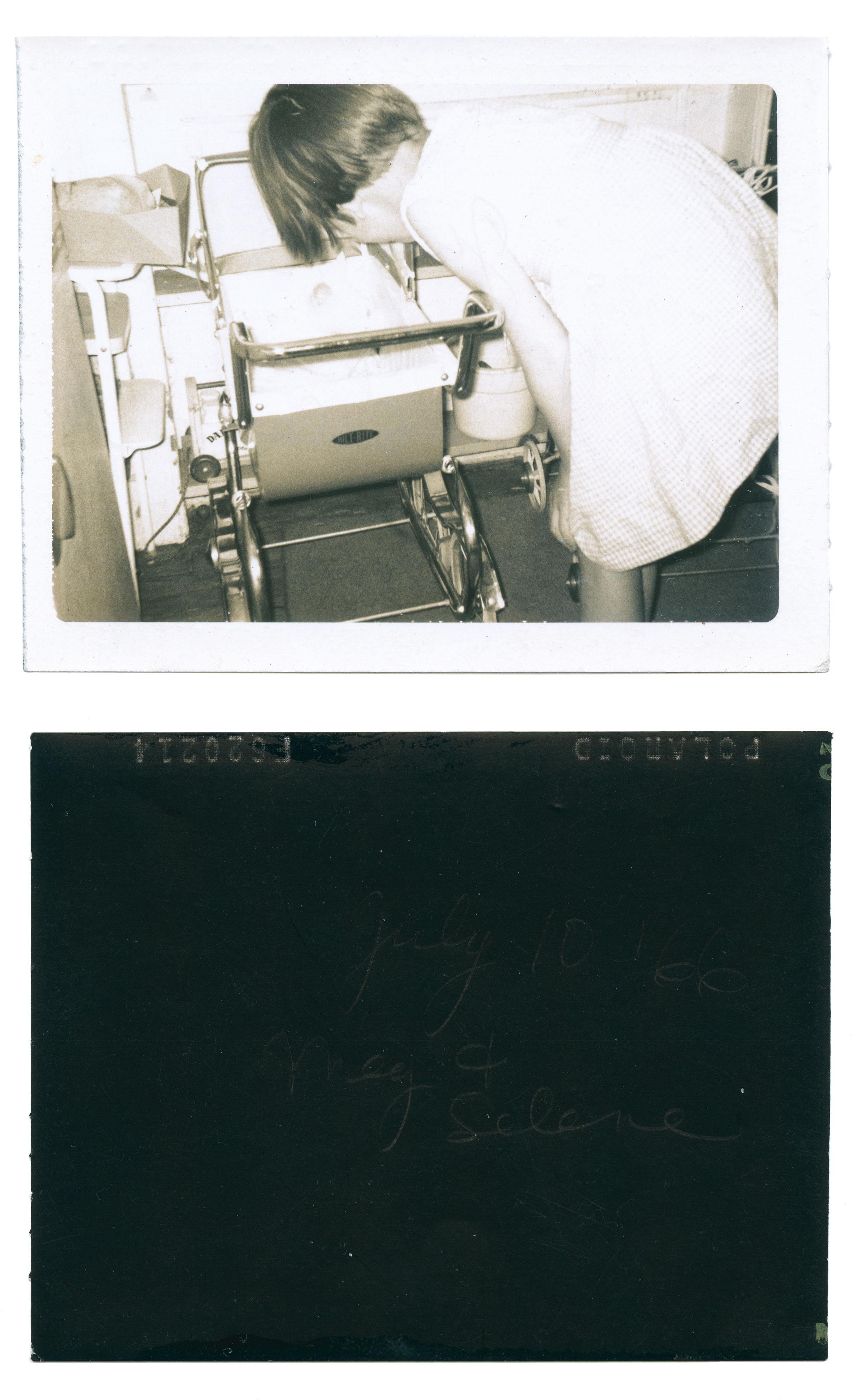 """""""July 10, '66 Meg + Selene"""" Polaroid, 1966, 2.5"""" x 3.25"""" Found in Brooklyn, NY"""