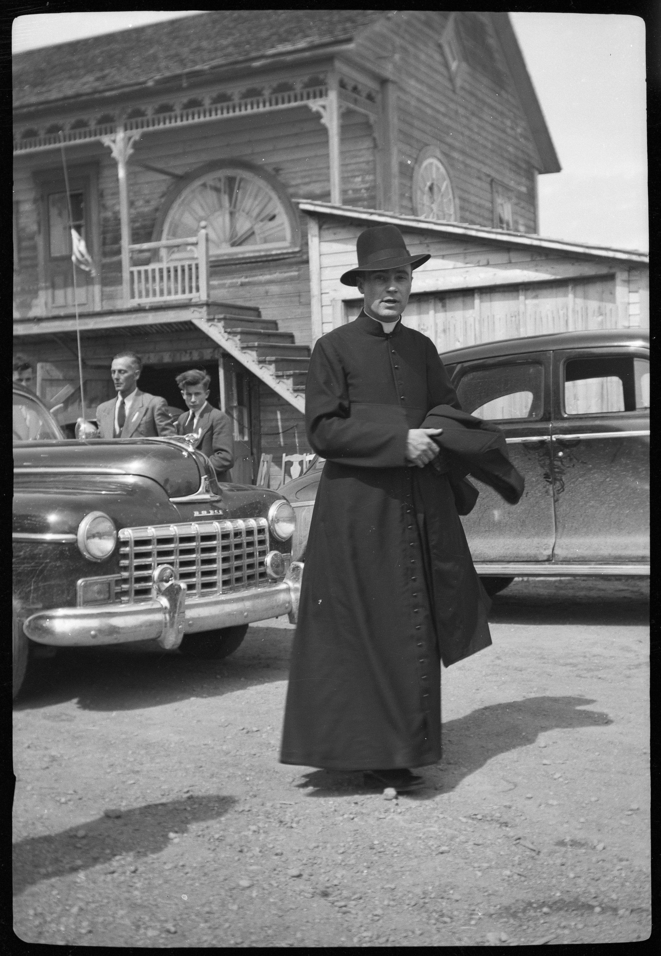"Priestly.  B&W photograph. Undated. 3"" x 2 3/4"". Found in DuBois, PA"