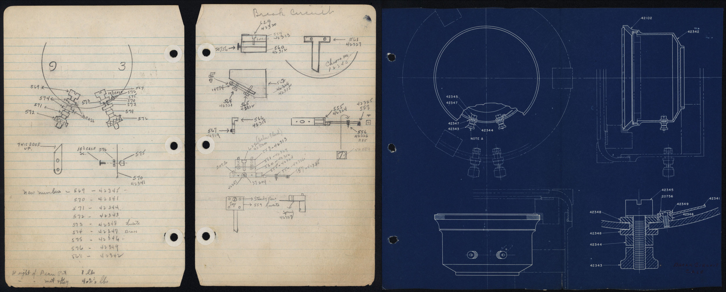 Drawings from Leroy May's notes on Hamilton chronometer. 1941-1946.