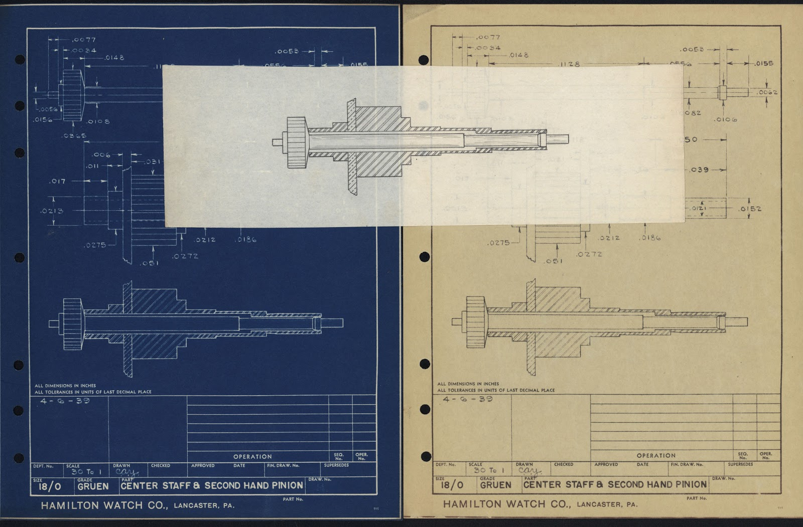 Technical drawings of Center Staff & Second Hand Pinion. 1939.