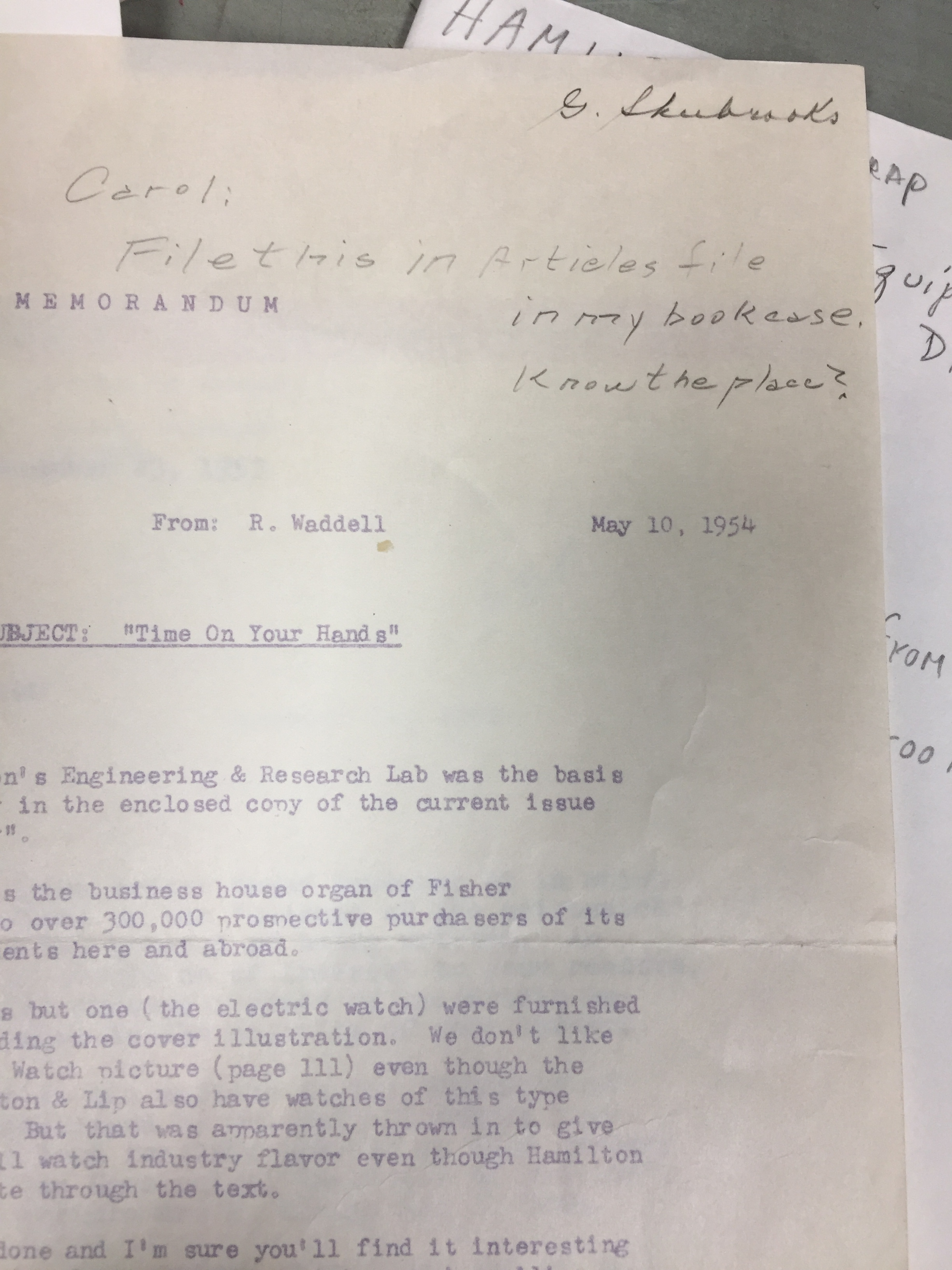 A memo with one of the many filing notes Shubrooks wrote to his secretary. May 10, 1954.